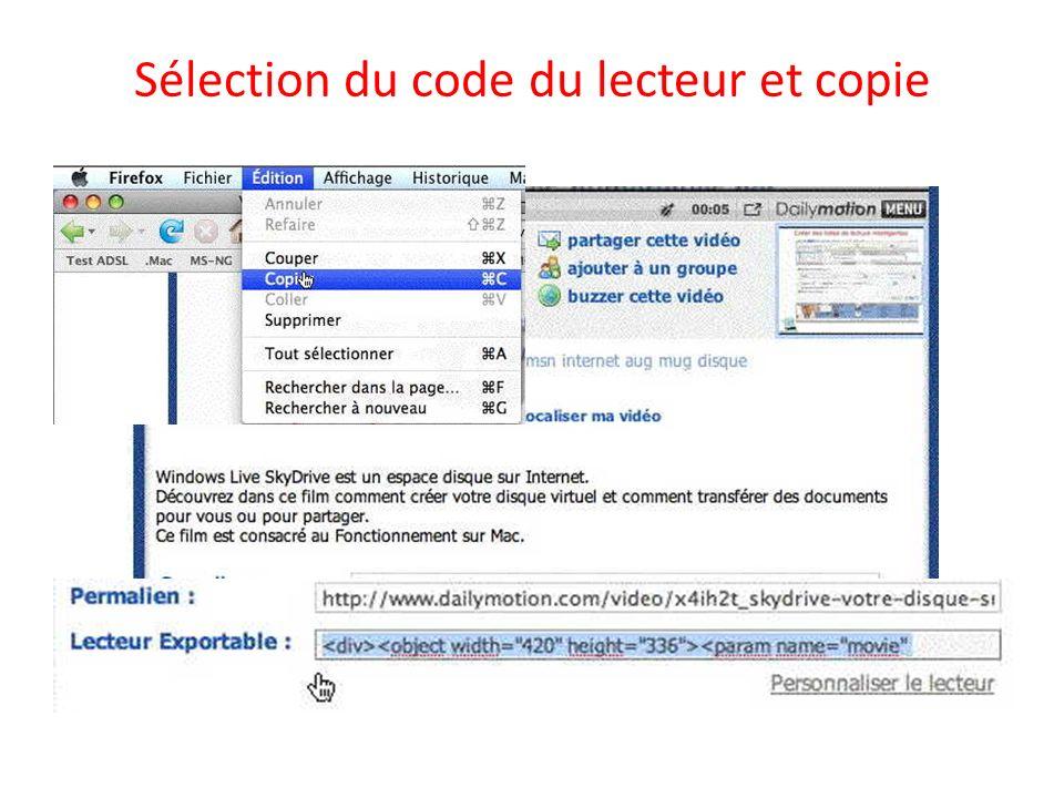 Sélection du code du lecteur et copie