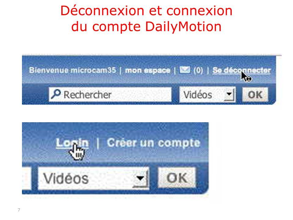 Déconnexion et connexion du compte DailyMotion 7