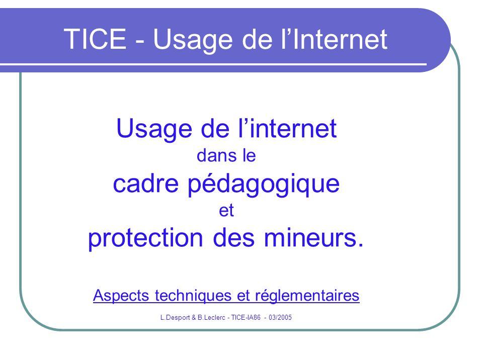 TICE - Usage de lInternet Usage de linternet dans le cadre pédagogique et protection des mineurs. Aspects techniques et réglementaires L.Desport & B.L
