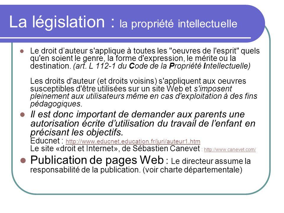 La législation : la propriété intellectuelle Le droit dauteur s'applique à toutes les
