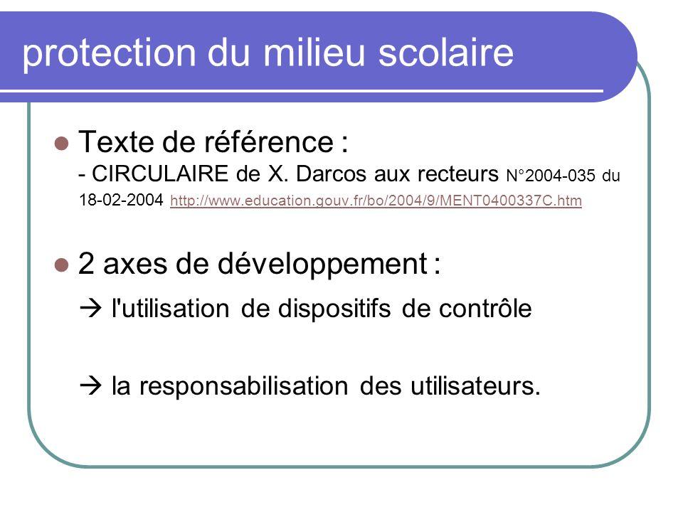 protection du milieu scolaire Texte de référence : - CIRCULAIRE de X. Darcos aux recteurs N°2004-035 du 18-02-2004 http://www.education.gouv.fr/bo/200