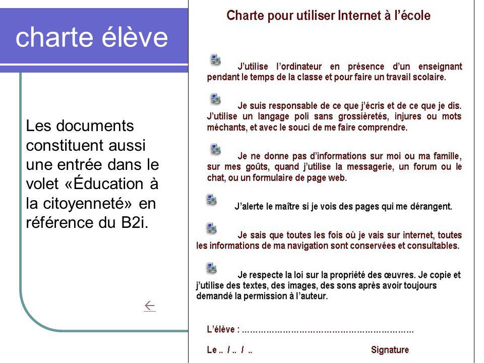charte élève Les documents constituent aussi une entrée dans le volet «Éducation à la citoyenneté» en référence du B2i.