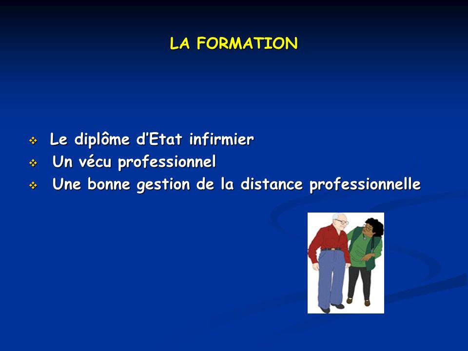 LA FORMATION Le diplôme dEtat infirmier Le diplôme dEtat infirmier Un vécu professionnel Un vécu professionnel Une bonne gestion de la distance professionnelle Une bonne gestion de la distance professionnelle