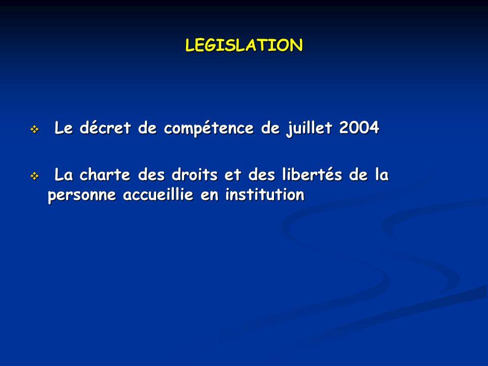 LEGISLATION Le décret de compétence de juillet 2004 Le décret de compétence de juillet 2004 La charte des droits et des libertés de la personne accueillie en institution La charte des droits et des libertés de la personne accueillie en institution