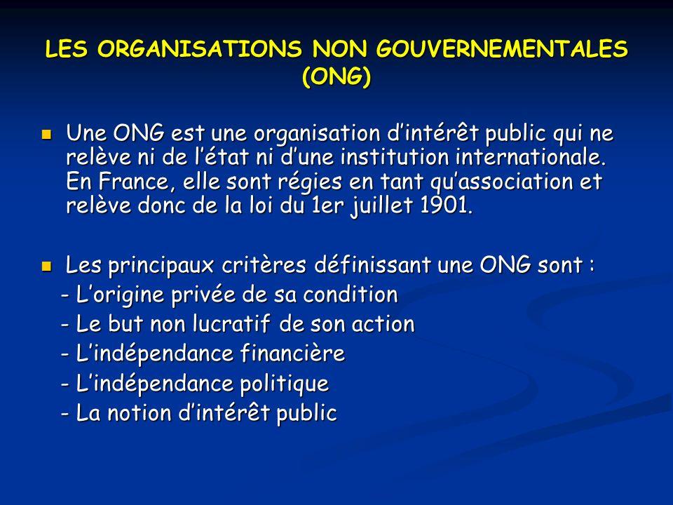 LES ORGANISATIONS NON GOUVERNEMENTALES (ONG) Une ONG est une organisation dintérêt public qui ne relève ni de létat ni dune institution internationale.