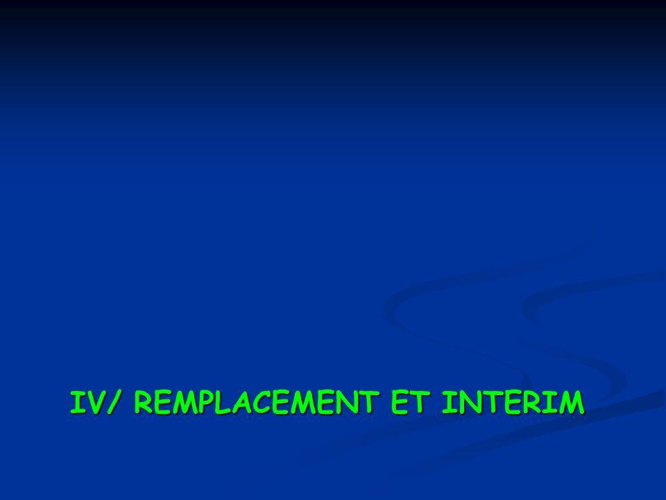 IV/ REMPLACEMENT ET INTERIM