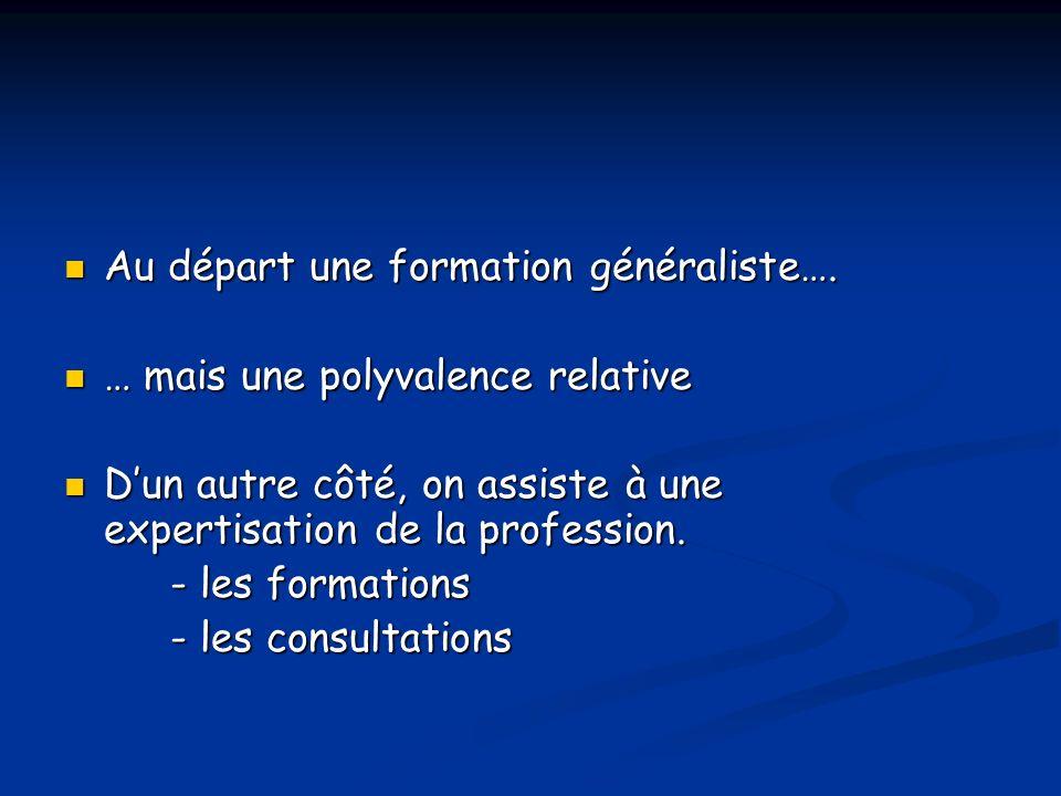 Au départ une formation généraliste….Au départ une formation généraliste….