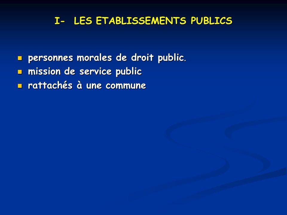 I- LES ETABLISSEMENTS PUBLICS personnes morales de droit public.