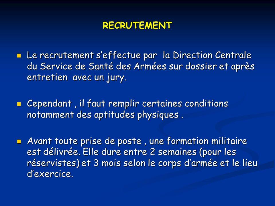 RECRUTEMENT Le recrutement seffectue par la Direction Centrale du Service de Santé des Armées sur dossier et après entretien avec un jury.