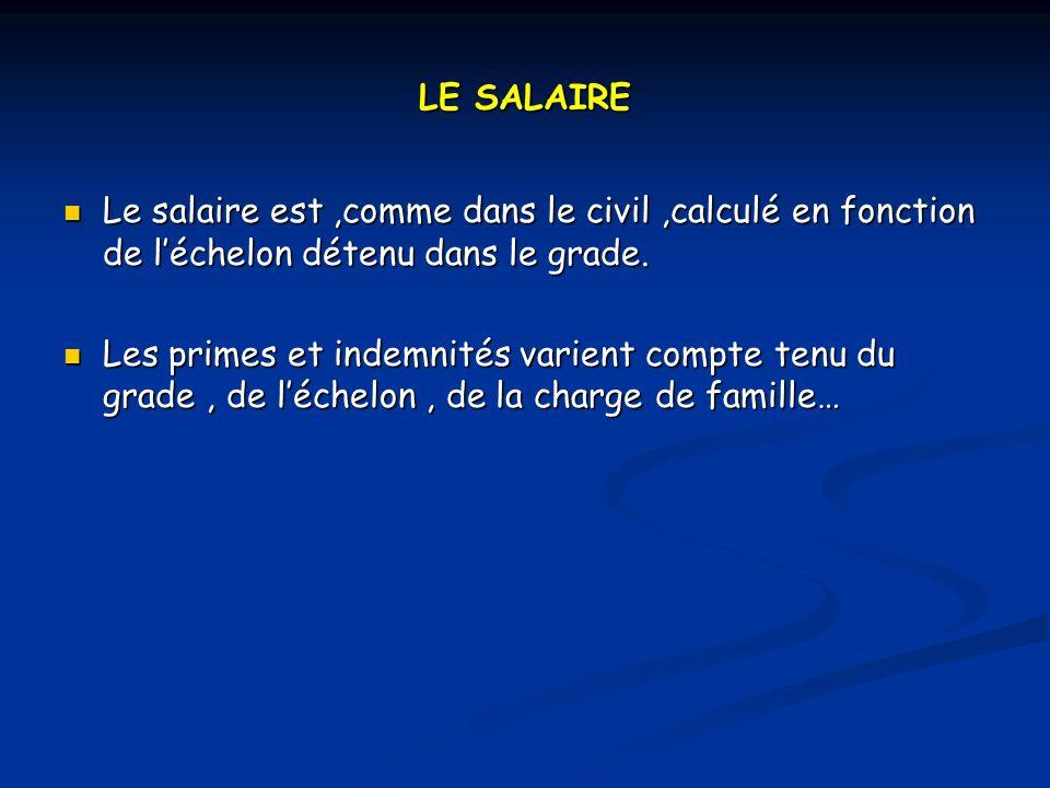 LE SALAIRE Le salaire est,comme dans le civil,calculé en fonction de léchelon détenu dans le grade.