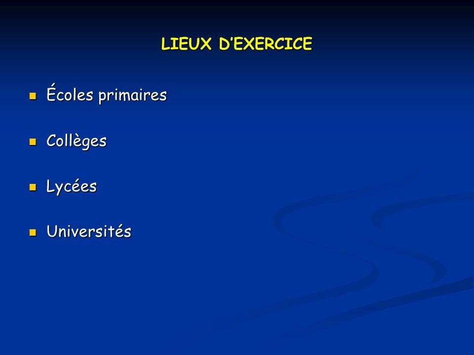 LIEUX DEXERCICE Écoles primaires Écoles primaires Collèges Collèges Lycées Lycées Universités Universités