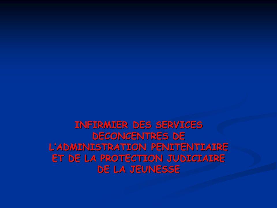INFIRMIER DES SERVICES DECONCENTRES DE LADMINISTRATION PENITENTIAIRE ET DE LA PROTECTION JUDICIAIRE DE LA JEUNESSE
