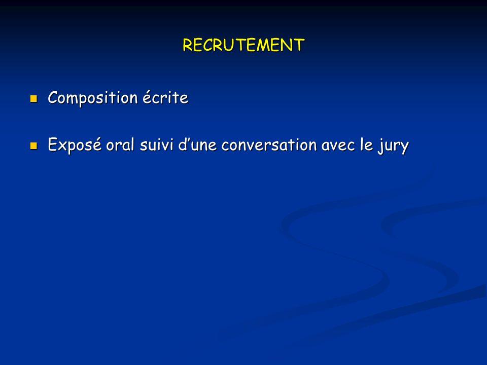 RECRUTEMENT Composition écrite Composition écrite Exposé oral suivi dune conversation avec le jury Exposé oral suivi dune conversation avec le jury