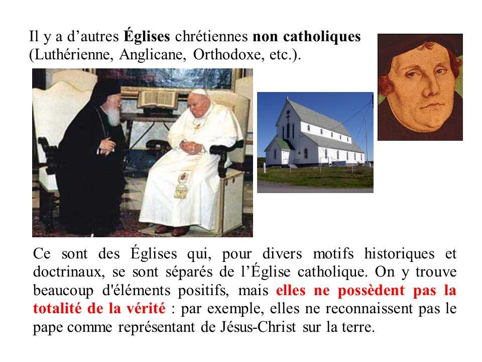 Il y a dautres Églises chrétiennes non catholiques (Luthérienne, Anglicane, Orthodoxe, etc.). Ce sont des Églises qui, pour divers motifs historiques