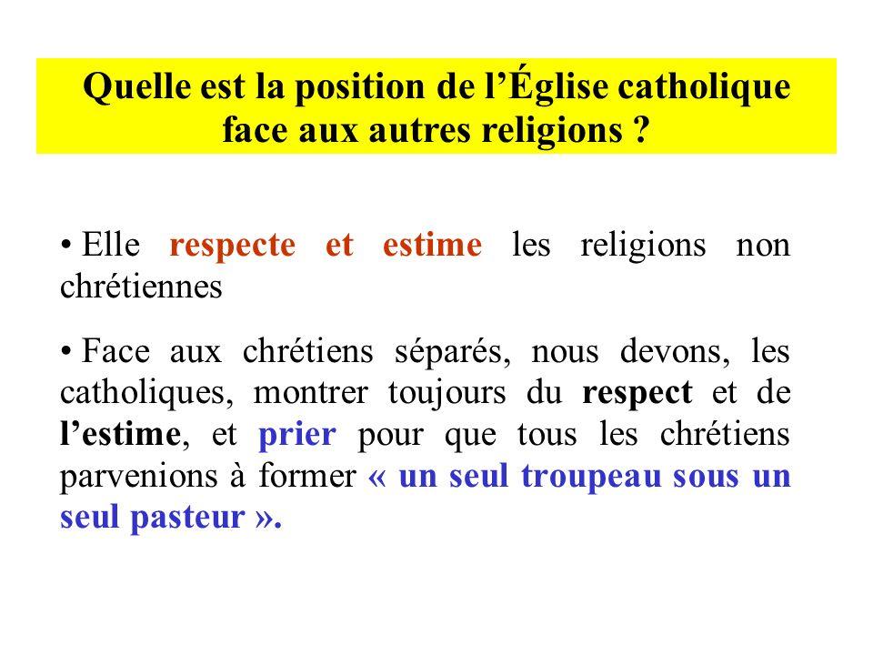 Quelle est la position de lÉglise catholique face aux autres religions ? Elle respecte et estime les religions non chrétiennes Face aux chrétiens sépa