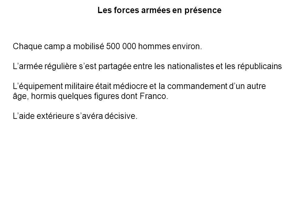 Les forces armées en présence Chaque camp a mobilisé 500 000 hommes environ. Larmée régulière sest partagée entre les nationalistes et les républicain