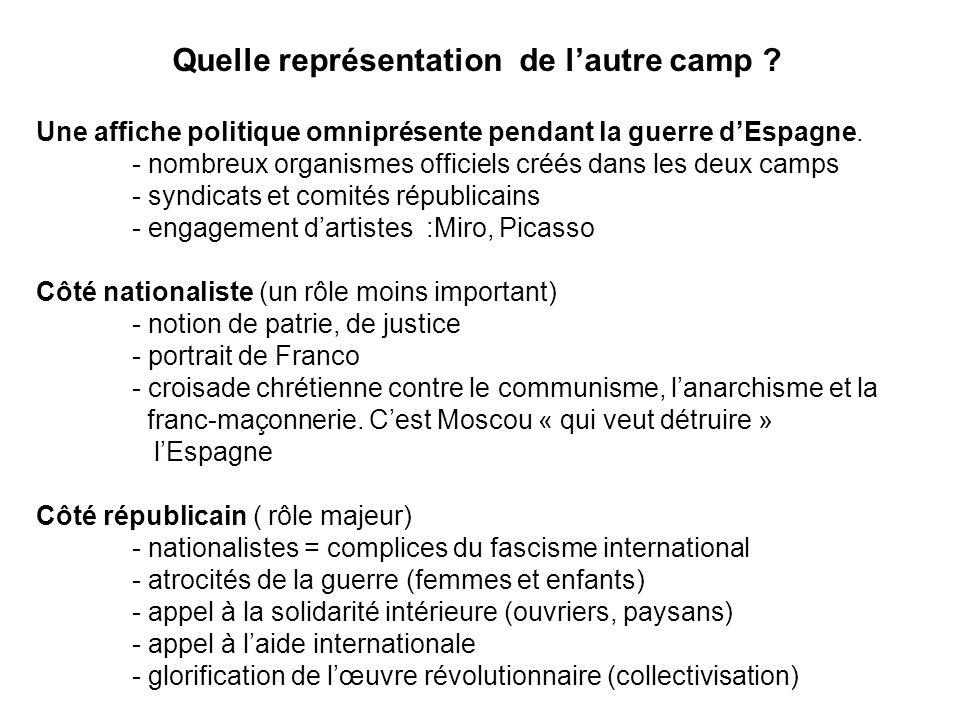 Quelle représentation de lautre camp ? Une affiche politique omniprésente pendant la guerre dEspagne. - nombreux organismes officiels créés dans les d