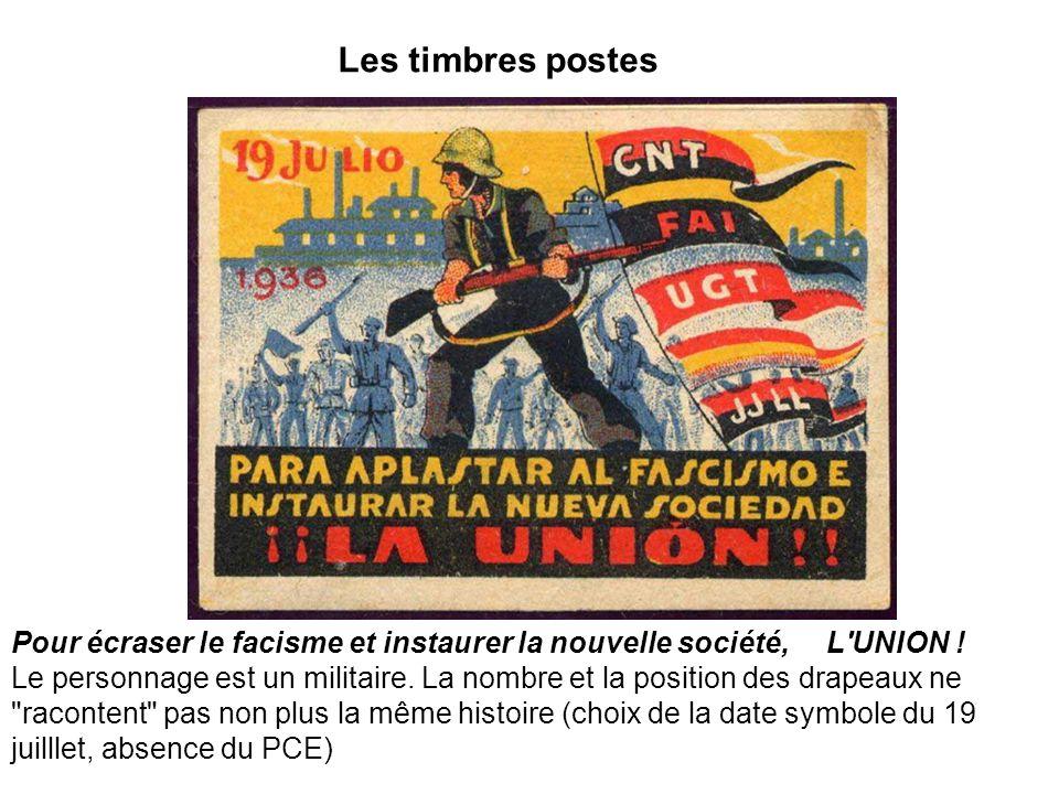 Les timbres postes Pour écraser le facisme et instaurer la nouvelle société, L'UNION ! Le personnage est un militaire. La nombre et la position des dr
