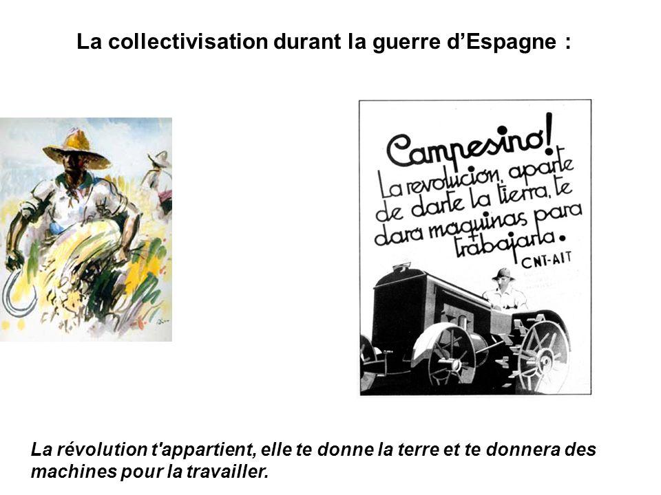 La collectivisation durant la guerre dEspagne : La révolution t'appartient, elle te donne la terre et te donnera des machines pour la travailler.