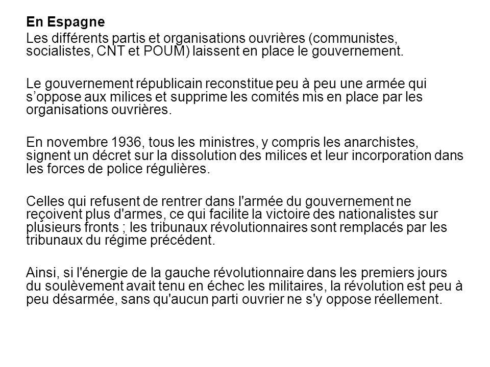 En Espagne Les différents partis et organisations ouvrières (communistes, socialistes, CNT et POUM) laissent en place le gouvernement. Le gouvernement