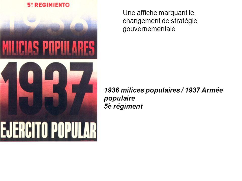 Une affiche marquant le changement de stratégie gouvernementale 1936 milices populaires / 1937 Armée populaire 5è régiment