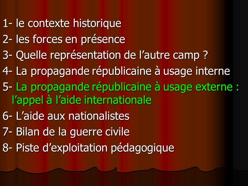 1- le contexte historique 2- les forces en présence 3- Quelle représentation de lautre camp ? 4- La propagande républicaine à usage interne 5- La prop