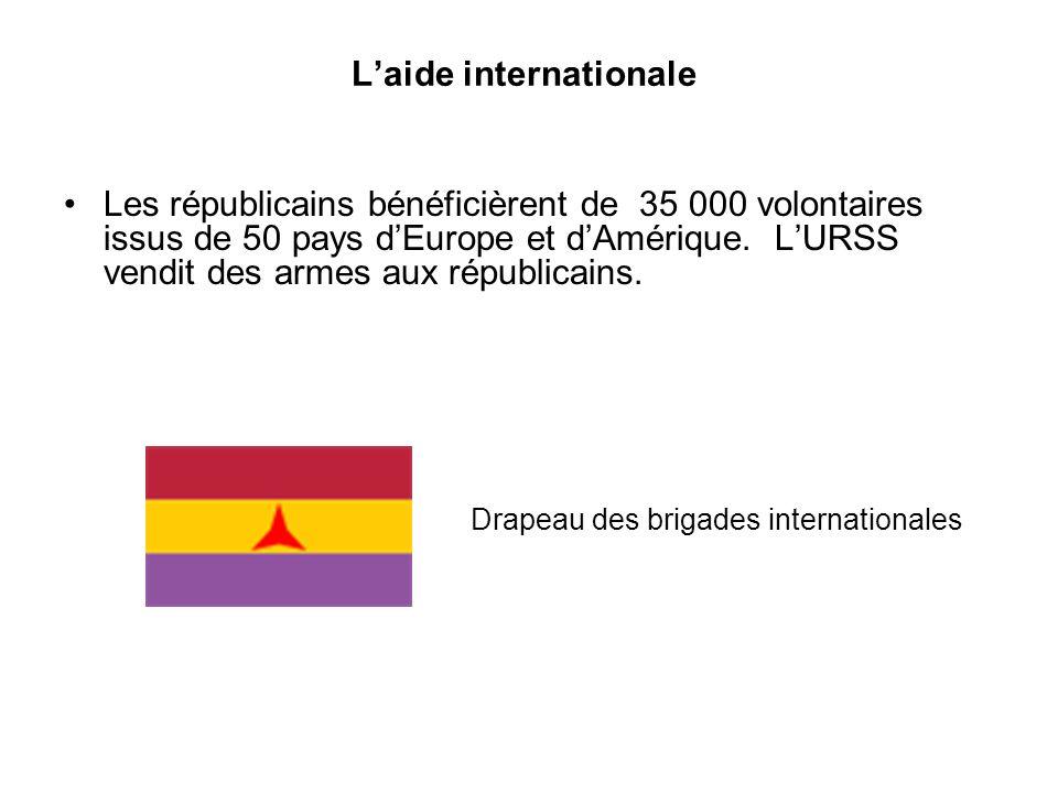 Les républicains bénéficièrent de 35 000 volontaires issus de 50 pays dEurope et dAmérique. LURSS vendit des armes aux républicains. Laide internation