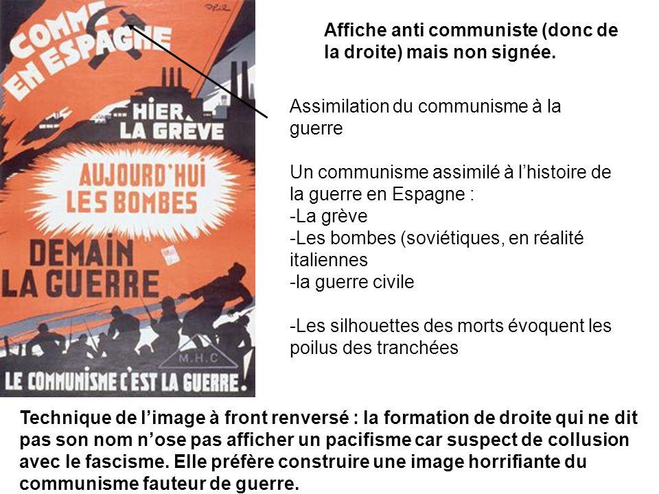 Affiche anti communiste (donc de la droite) mais non signée. Assimilation du communisme à la guerre Un communisme assimilé à lhistoire de la guerre en