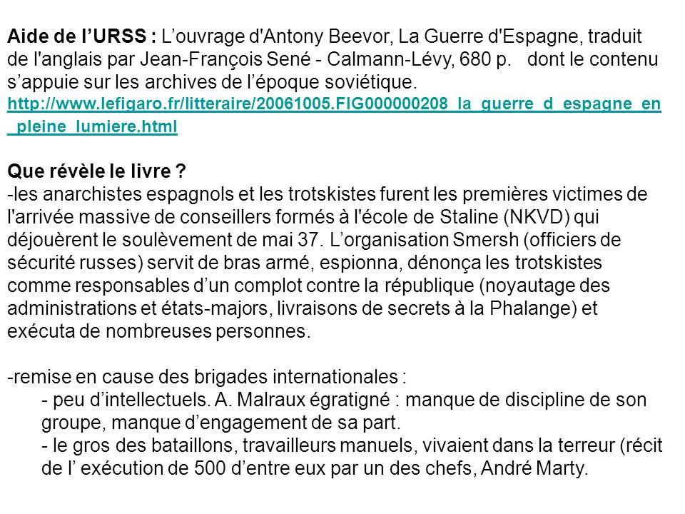 Aide de lURSS : Louvrage d'Antony Beevor, La Guerre d'Espagne, traduit de l'anglais par Jean-François Sené - Calmann-Lévy, 680 p. dont le contenu sapp