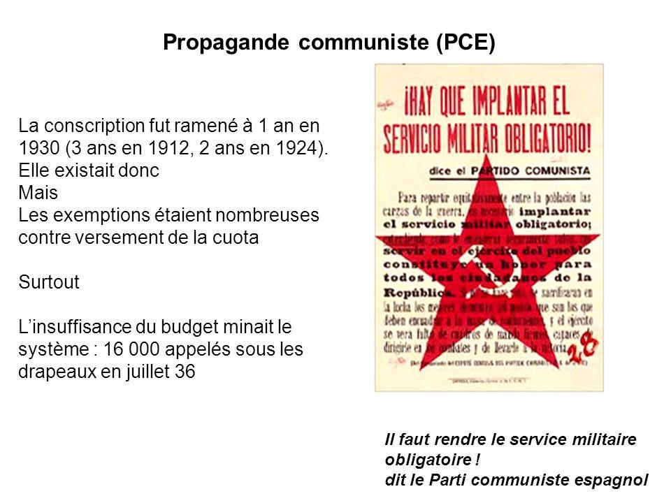 Propagande communiste (PCE) Il faut rendre le service militaire obligatoire ! dit le Parti communiste espagnol La conscription fut ramené à 1 an en 19