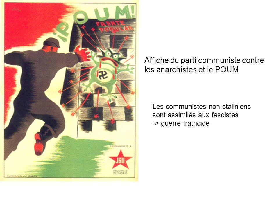 Affiche du parti communiste contre les anarchistes et le POUM Les communistes non staliniens sont assimilés aux fascistes -> guerre fratricide