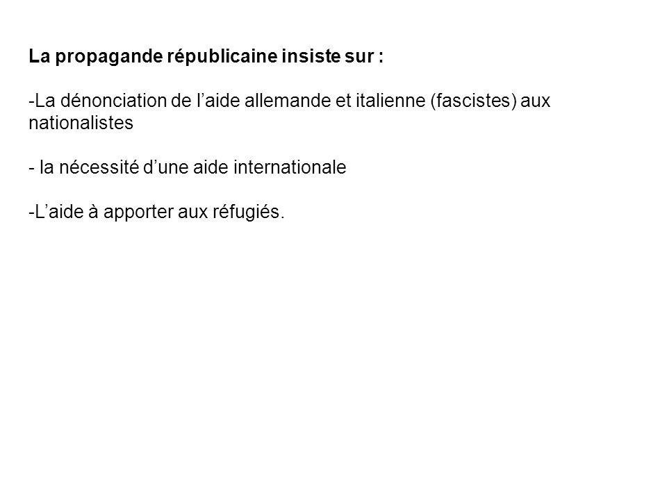 La propagande républicaine insiste sur : -La dénonciation de laide allemande et italienne (fascistes) aux nationalistes - la nécessité dune aide inter
