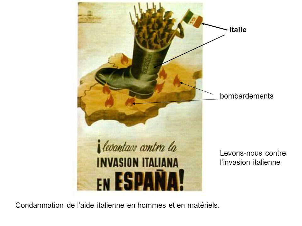 Condamnation de laide italienne en hommes et en matériels. Italie bombardements Levons-nous contre linvasion italienne