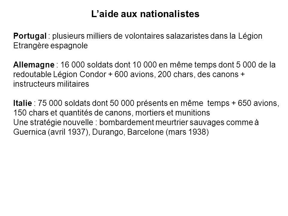 Laide aux nationalistes Portugal : plusieurs milliers de volontaires salazaristes dans la Légion Etrangère espagnole Allemagne : 16 000 soldats dont 1