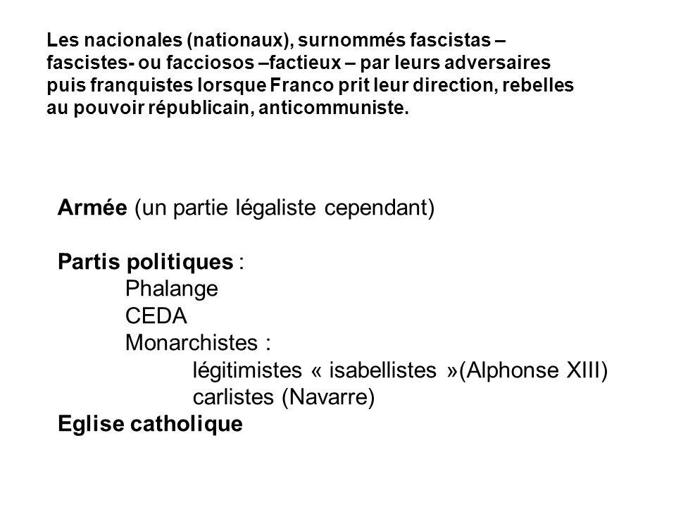 Les nacionales (nationaux), surnommés fascistas – fascistes- ou facciosos –factieux – par leurs adversaires puis franquistes lorsque Franco prit leur