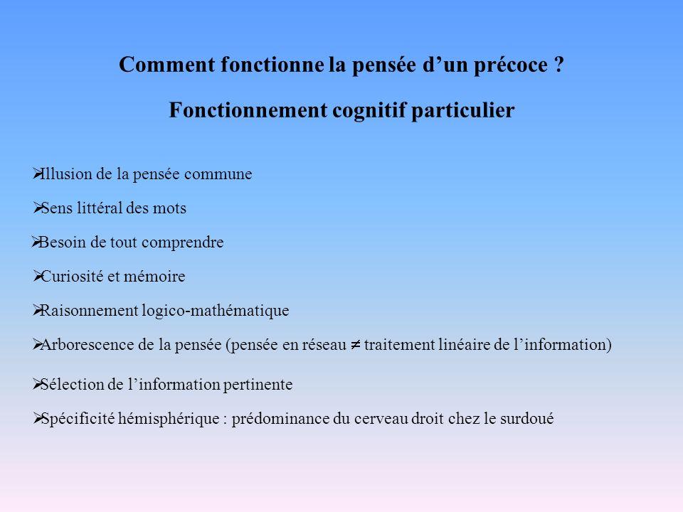 Comment fonctionne la pensée dun précoce ? Fonctionnement cognitif particulier Illusion de la pensée commune Sens littéral des mots Besoin de tout com