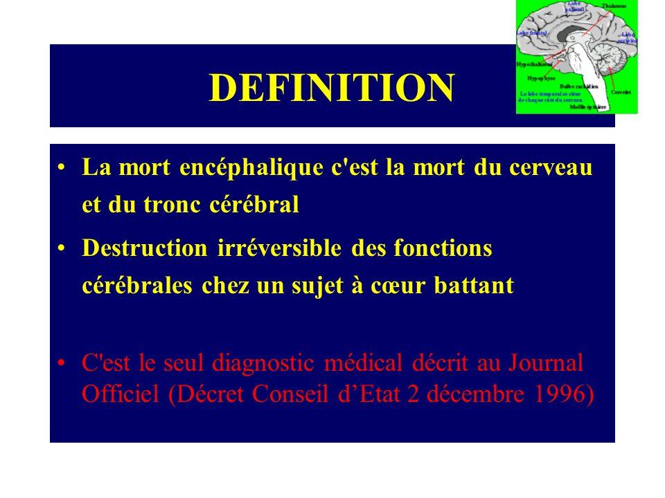 Conséquences de la mort encéphalique Perte du contrôle hémodynamique Perte du contrôle respiratoire Perte du contrôle thermique Atteintes endocriniennes et métaboliques Dégradation rapide de lhoméostasie Arrêt cardiaque irréversible