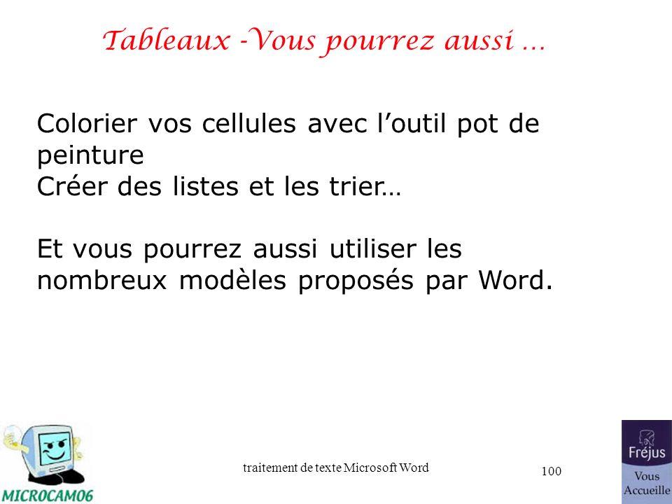 traitement de texte Microsoft Word 100 Tableaux -Vous pourrez aussi … Colorier vos cellules avec loutil pot de peinture Créer des listes et les trier…