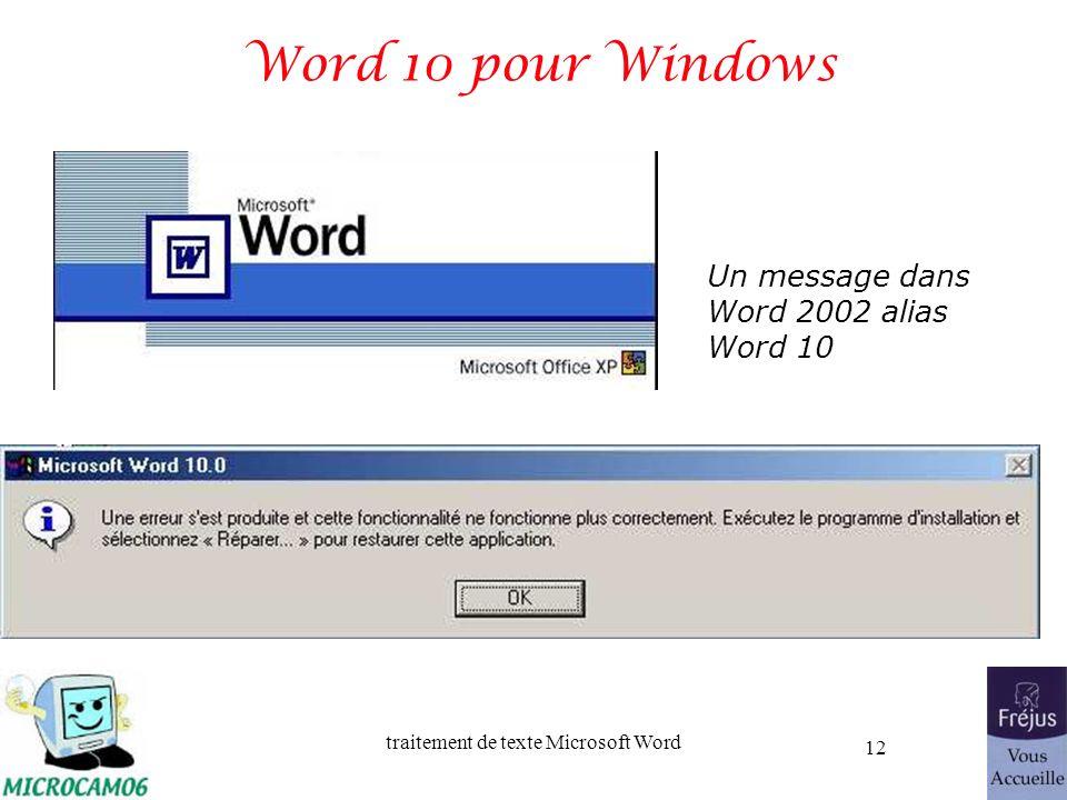 traitement de texte Microsoft Word 12 Word 10 pour Windows Un message dans Word 2002 alias Word 10