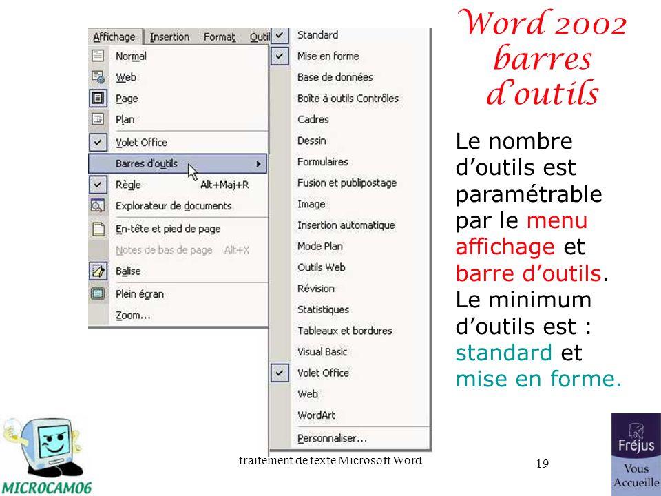 traitement de texte Microsoft Word 19 Word 2002 barres doutils Le nombre doutils est paramétrable par le menu affichage et barre doutils. Le minimum d