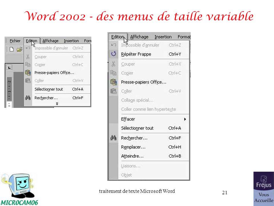 traitement de texte Microsoft Word 21 Word 2002 - des menus de taille variable