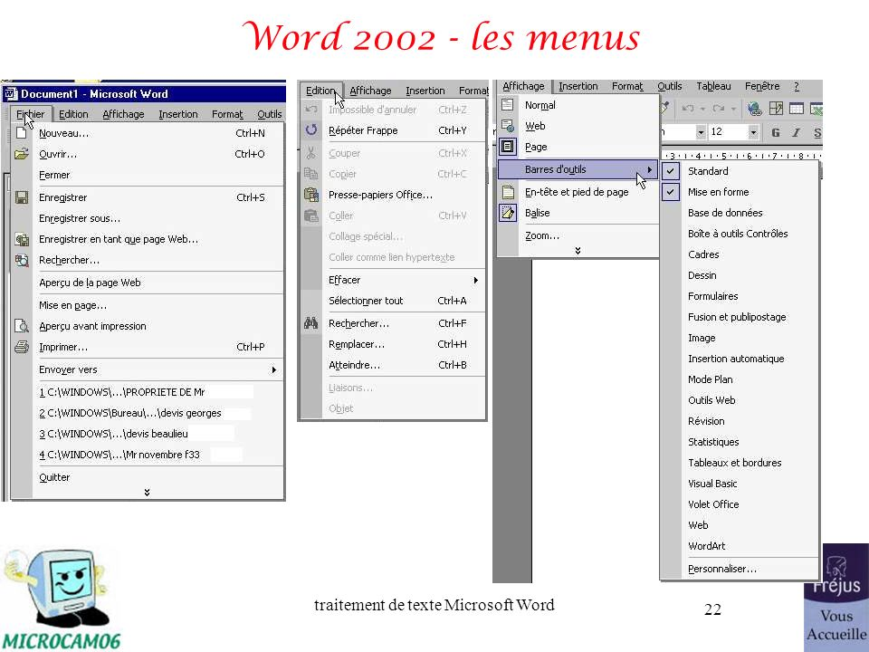 traitement de texte Microsoft Word 22 Word 2002 - les menus