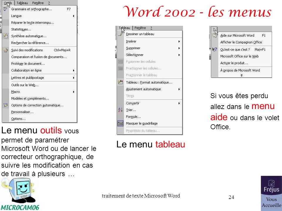 traitement de texte Microsoft Word 24 Word 2002 - les menus Le menu outils vous permet de paramétrer Microsoft Word ou de lancer le correcteur orthogr