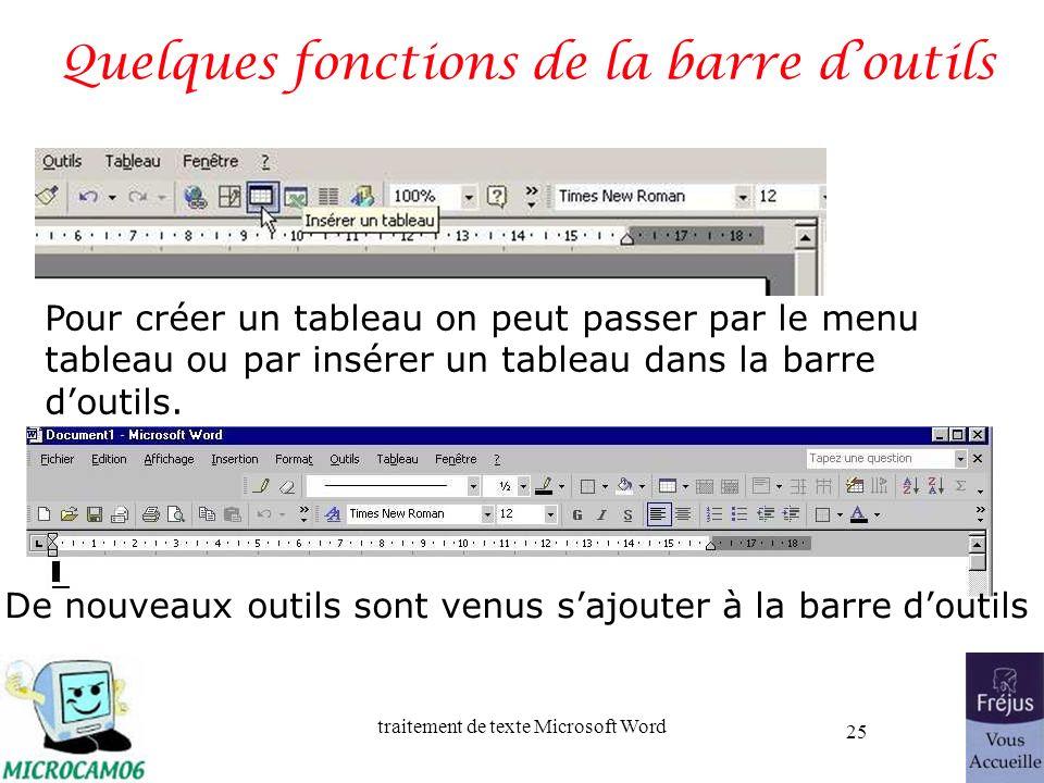 traitement de texte Microsoft Word 25 Quelques fonctions de la barre doutils Pour créer un tableau on peut passer par le menu tableau ou par insérer u