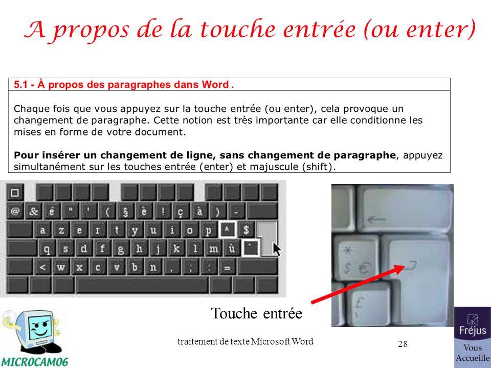 traitement de texte Microsoft Word 28 A propos de la touche entrée (ou enter) Touche entrée