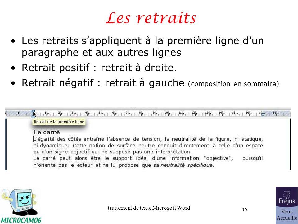 traitement de texte Microsoft Word 45 Les retraits Les retraits sappliquent à la première ligne dun paragraphe et aux autres lignes Retrait positif :