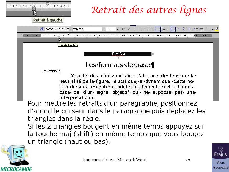 traitement de texte Microsoft Word 47 Retrait des autres lignes Pour mettre les retraits dun paragraphe, positionnez dabord le curseur dans le paragra