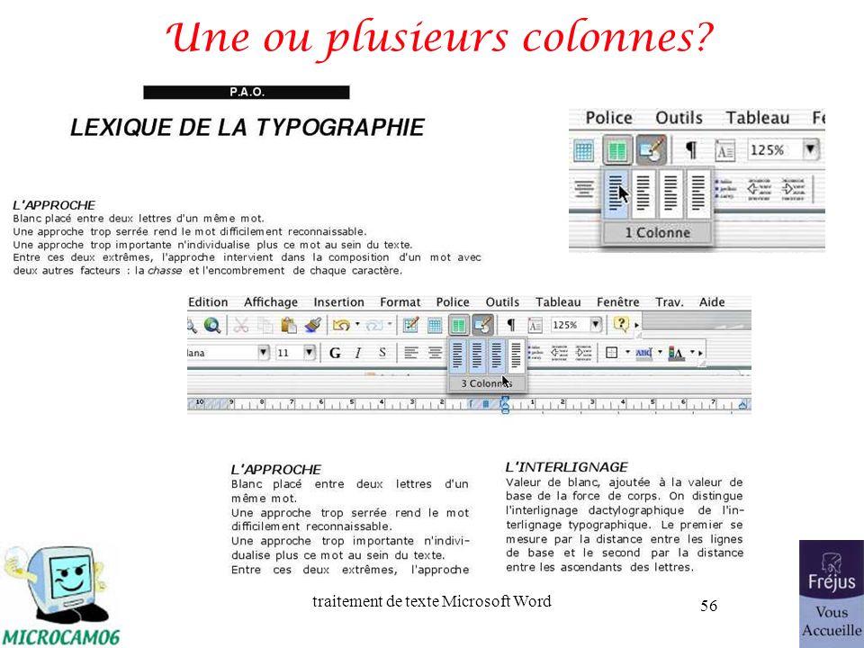 traitement de texte Microsoft Word 56 Une ou plusieurs colonnes?