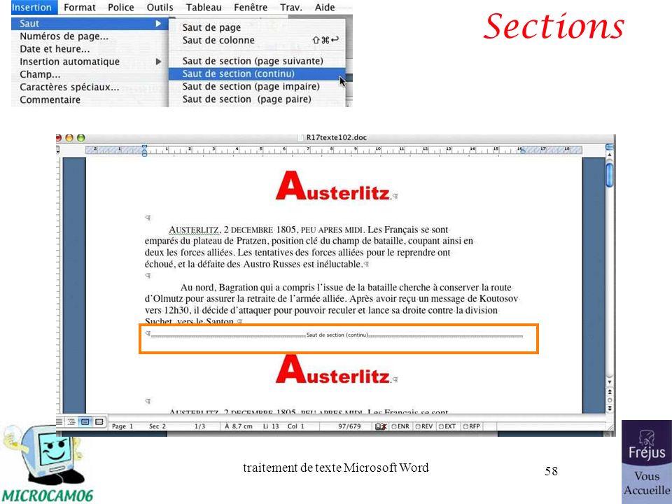 traitement de texte Microsoft Word 58 Sections
