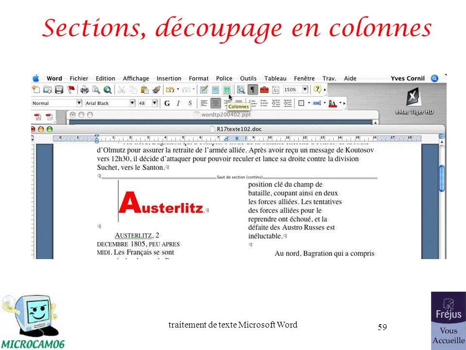 traitement de texte Microsoft Word 59 Sections, découpage en colonnes
